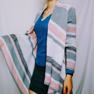 Grey Pink and White Stripped Waterfall Cardigan